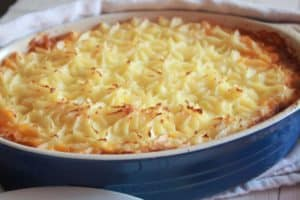 This shepherd's pie recipe is warm and comforting perfect for cool weather! Your choice of ground meat with vegetables, red wine, and mashed potatoes.
