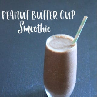 Peanut Butter Cup Smoothie madd with Cocoa powder, bananas, peanut butter, vanilla, honey, water or your favorite liquid, and ice blended until smooth