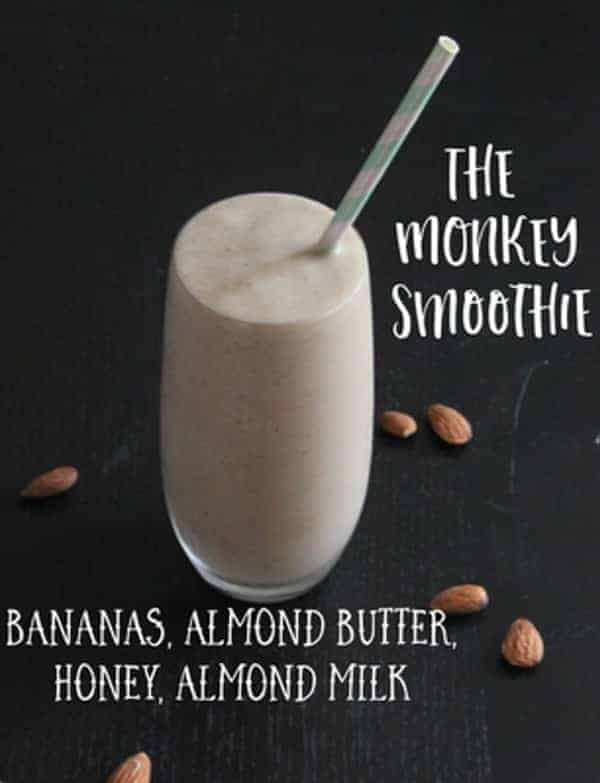 Monkey Smoothie Recipe prepared with frozen bananas blended together with honey, almond butter and almond milk. A quick and easy breakfast or anytime snack!