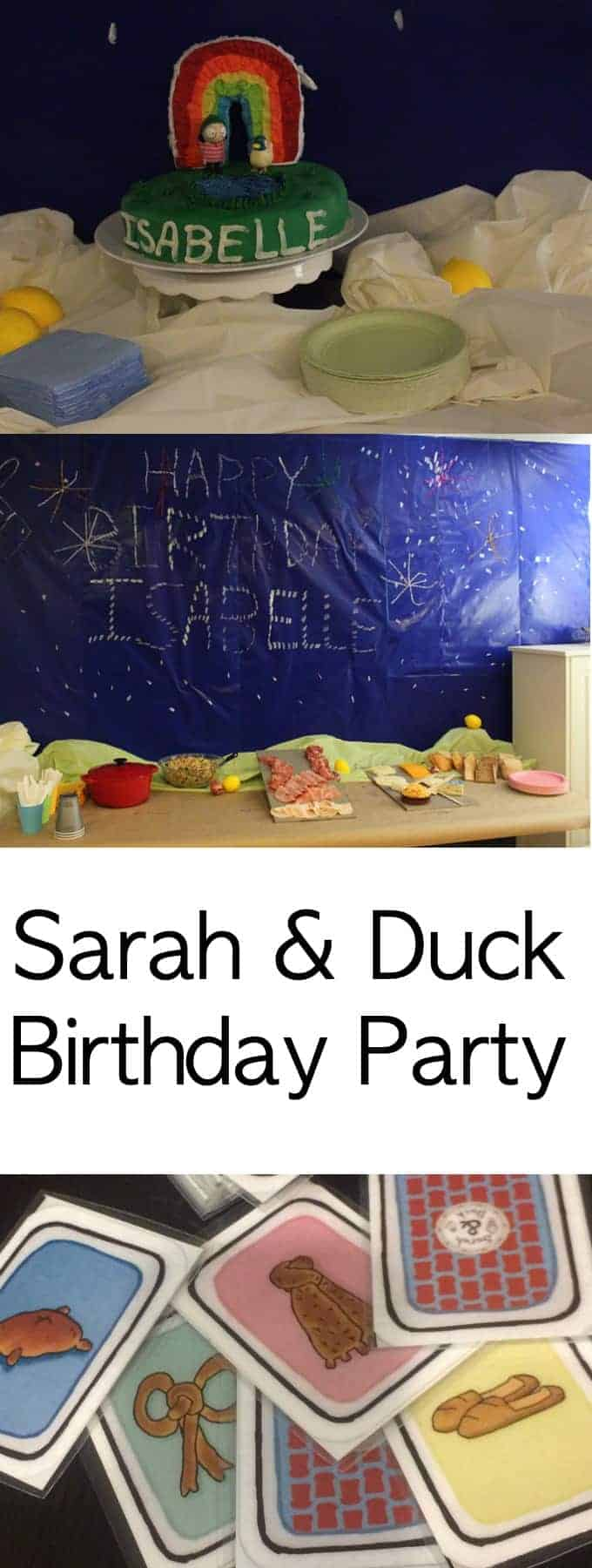 A Sarah & Duck Birthday Party complete with the Same Bread Card Game, Lemon Water, Shallots, Moon, Lemon Poppyseed Cake, Fireworks, and the Dozing Donkey