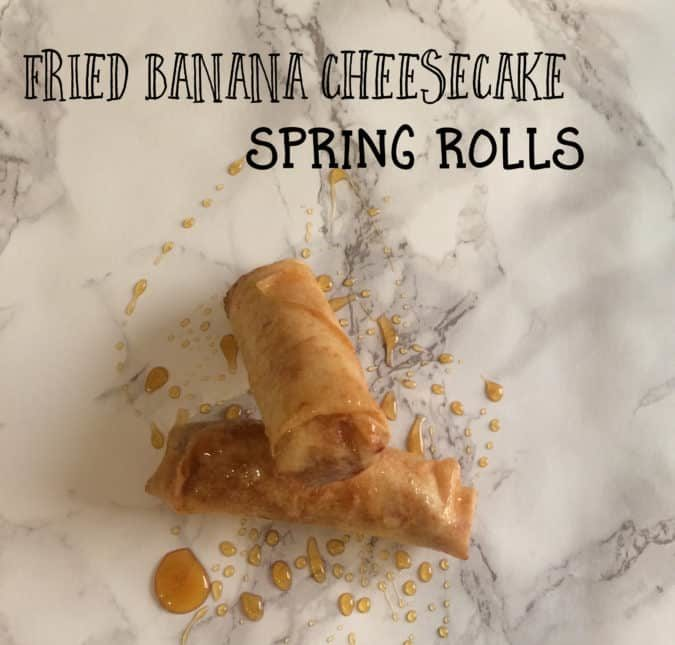 Fried Banana Cheesecake Spring Rolls are made with a creamy cheesecake filling and cinnamon sugar dusted bananas, fried until golden.