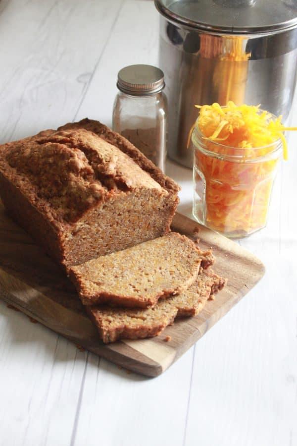 This Gluten Free Pumpkin Bread Recipe is so moist and full of flavor. Pumpkin Pie Spice, fresh grated pumpkin, and a gluten free flour blend