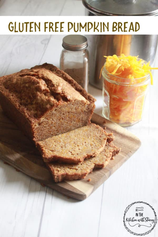 This Gluten Free Pumpkin Bread Recipe is so moist and full of flavor. Pumpkin Pie Spice, fresh grated pumpkin, and a gluten free flour blend