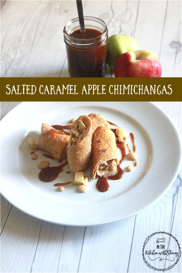 Salted Caramel Apple Chimichangas prepared with Salted Caramel, Sweetened Cream, and Cinnamon Sugar Apples wrapped in a Tortilla and Fried till golden.