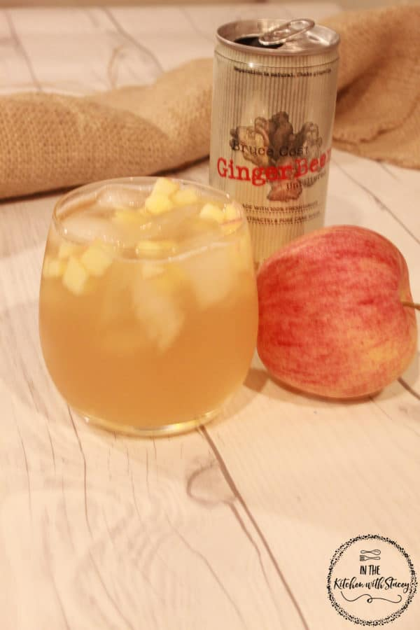 Apple Jack-and-Ginger Beer Cocktail. Apple juice, fresh apples, Jack Daniel's, honey, and ginger beer is mixed together for a delightful holiday cocktail