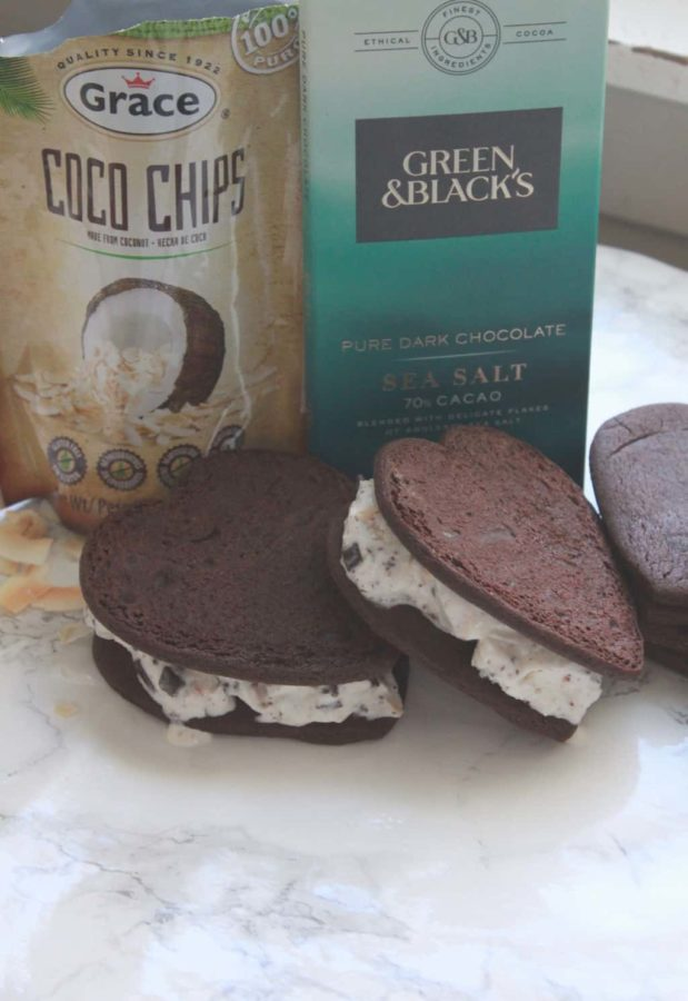 Chocolate Coconut Chip Ice Cream Sandwiches . Dark Chocolate and Coconut Chip Vanilla Ice Cream sandwiched between two dark chocolate cookies