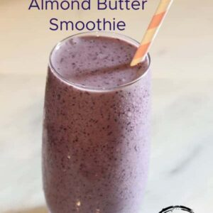 Make this Blueberry Coconut Almond Butter Smoothie for a quick anytime snack or on-the-go breakfast made with frozen blueberries, honey, and almond butter.