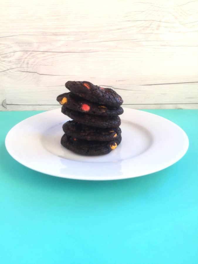 Double Chocolate SunDrops Cookies recipe prepared with black cocoa powder, mini chocolate chips, and milk chocolate candies..what a treat of a cookie!