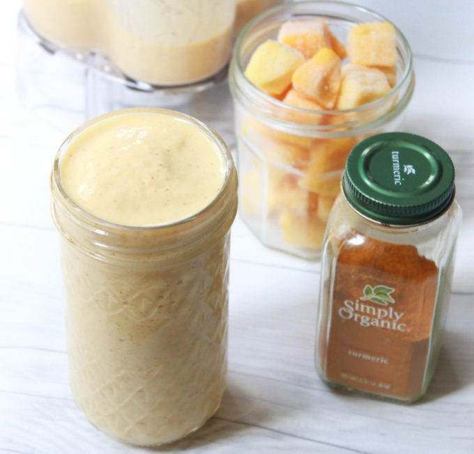 This Mango Tumeric Smoothie recipe is prepared with almond milk, Greek yogurt, frozen mango, honey, and tumeric perfect for summer or anytime.
