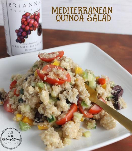 An easy Mediterranean Quinoa Salad recipe prepared with Brianna's Creamy Balsamic Dressing, feta cheese, kalamata olives, and grape tomatoes.
