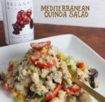An easy Mediterranean Quinoa Salad recipe prepared with Brianna's Creamy Balsamic Dressing, feta cheese, kalamata olives, and grape tomatoes.
