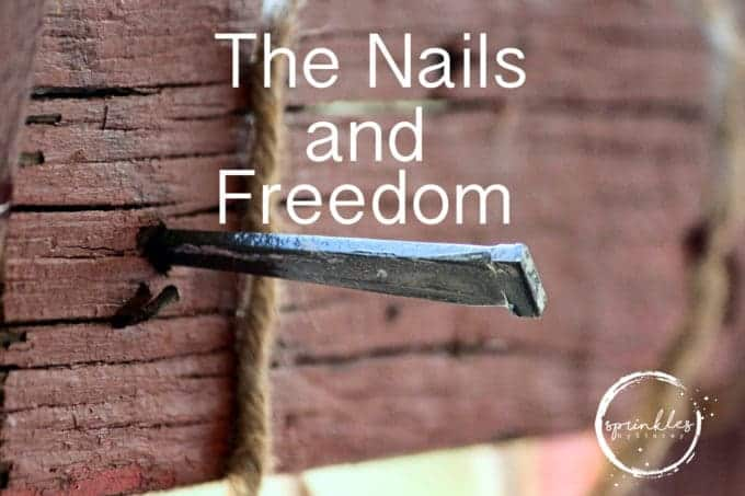 Nails carried our sin to the cross and He made us right with Him for the world to see.  We are free, not bound in chains.