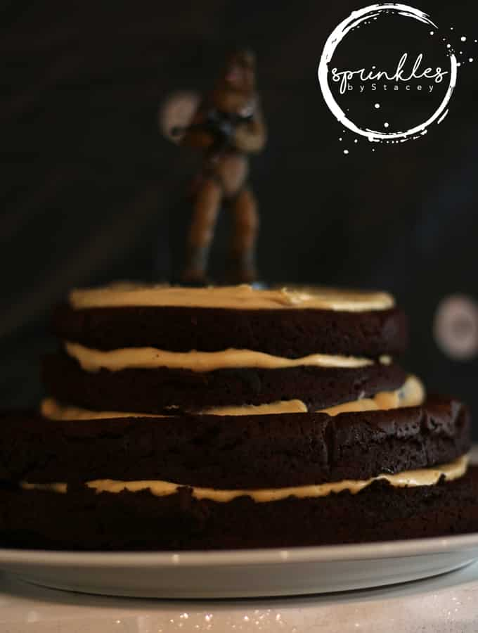 Melt in your mouth chocolate cake with creamy caramel filling! This Flourless Chocolate Cake with Caramel Cream is my daughter's Chewbacca cake