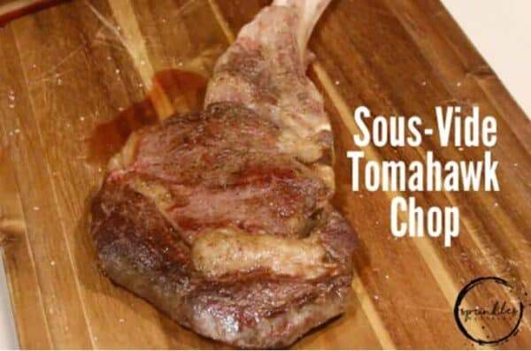 Enjoy a delicious sous-vide Tomahawk Chop within an hour for your next party. #sousvide #tomahawkchop