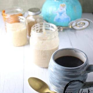 This White Chocolate Pumpkin Coffee Creamer is inspired by the Princess Cinderella Latte from the secret menu at Starbucks.  Using REAL and simple ingredients you too can experience some Disney magic at home!